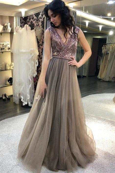 Charming V neckline Tulle A Line Sequins Long Prom Dress, Sexy Evening Party