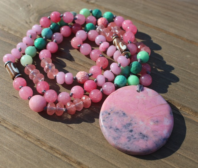 Well being Necklace Long Rhodonite Beaded Necklace with Pendant Hand Knot