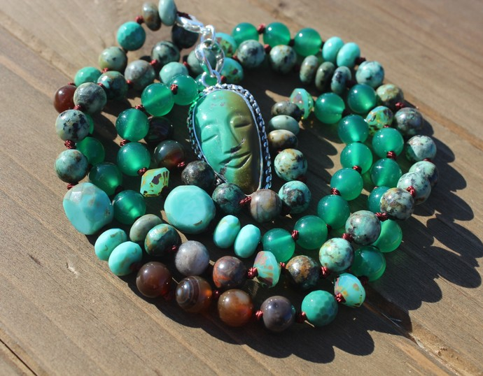 Long Beaded Necklace with carved Turquoise Pendant Inspirational Jewelry by