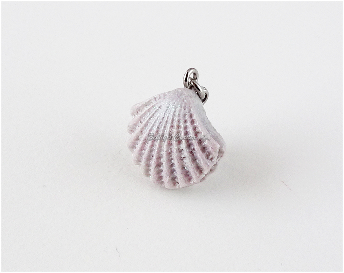 Pale Lavender Sea Shell Charm, Resin, Pet Collar Charms, Pet Accessories, Cat