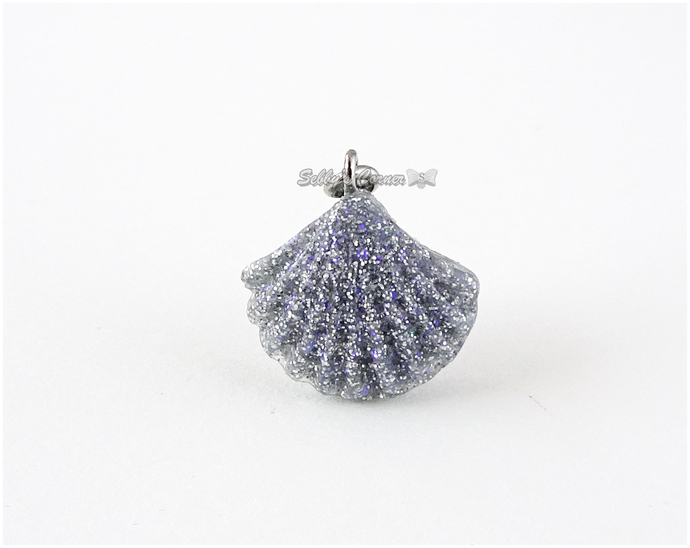 Silver Glitter Seashell Charm, Resin, Pet Collar Charms, Pet Accessories, Cat