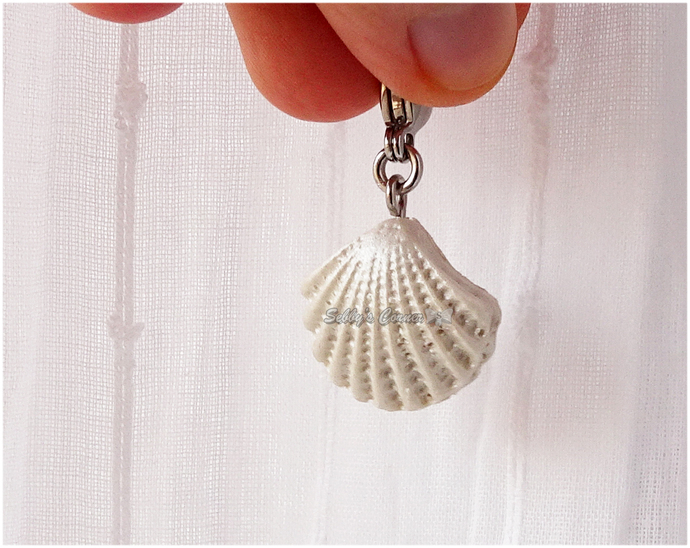 Pearl Sea Shell Charm, Resin, Pet Jewelry, Cat Collar Charms, Summer, Zipper