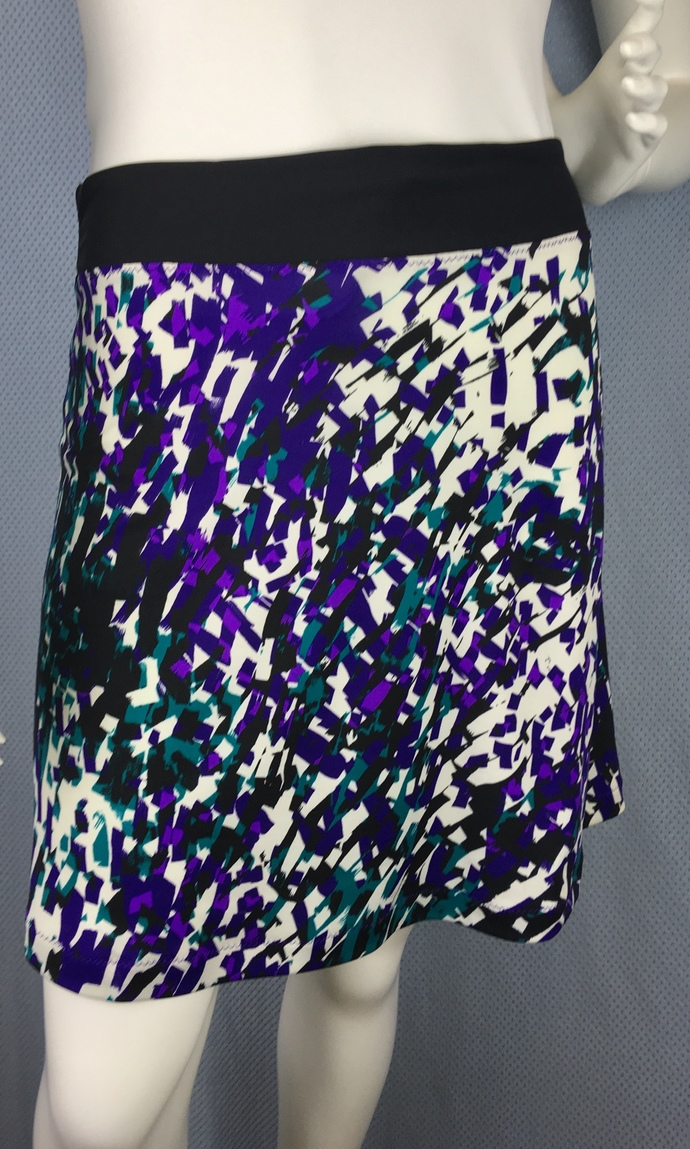 Purple Confetti Print Black Fabric with Adjustable Tie Comfortable A-Line Cut