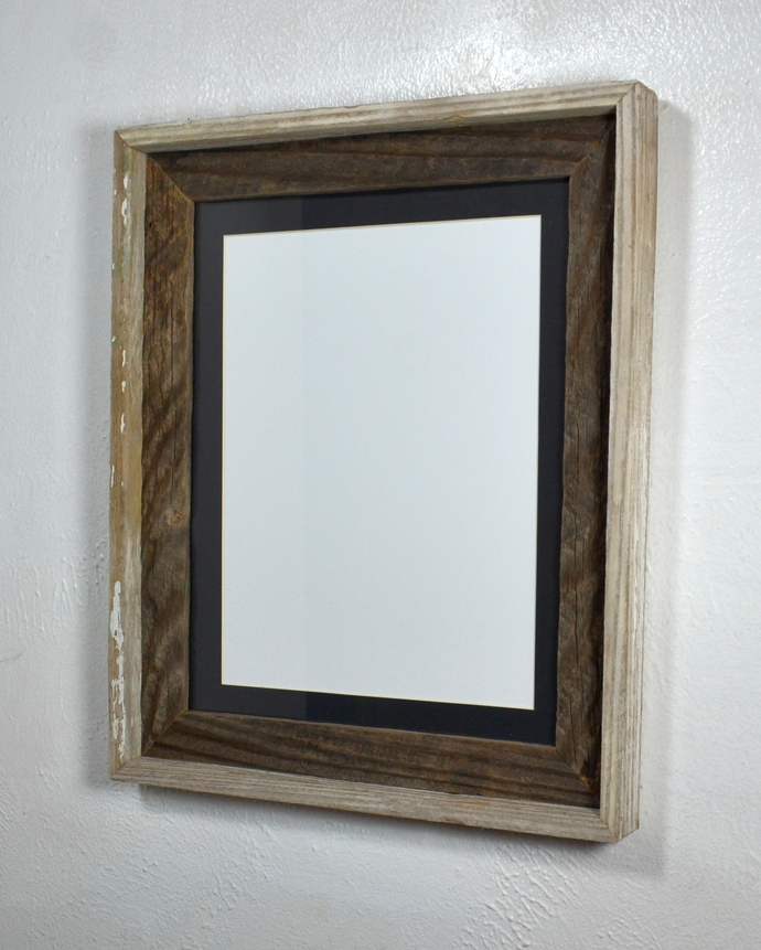 Shabby chic  11x14  reclaimed wood picture frame with 9x12 mat
