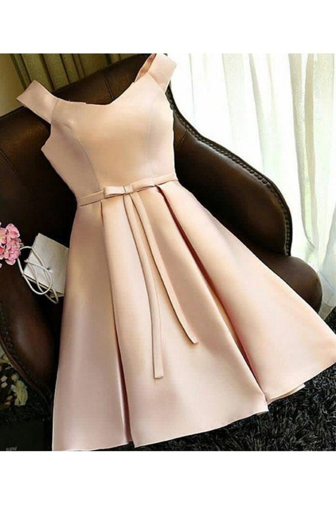 Elegant Satin Short Homecoming Dress, Straps Short Prom Dress, Girl Graduation