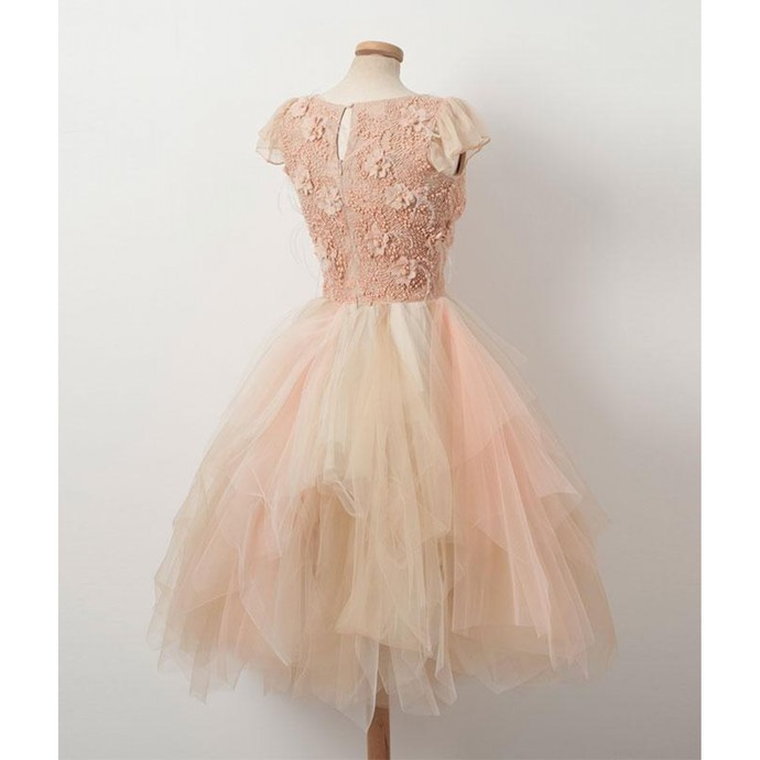 Cap Sleeve Tulle Beaded Short Homecoming Dress, Elegant Prom Dress