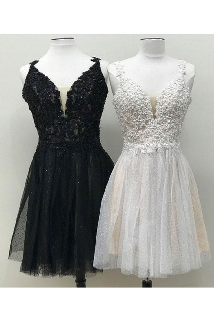 Black Tulle Appliques Short Prom Dress, Beads Homecoming Dress