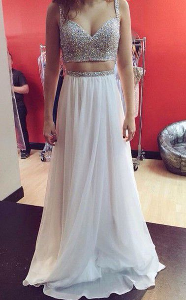 two pieces prom dress, long prom dress, charming prom dress, white prom dress,