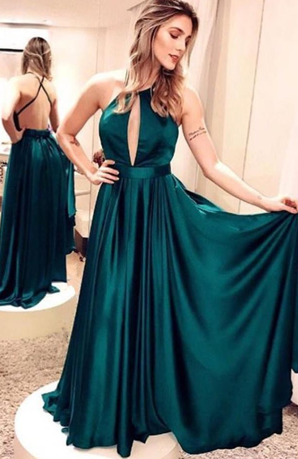 Emerald Green Prom Dresses,Satin Prom