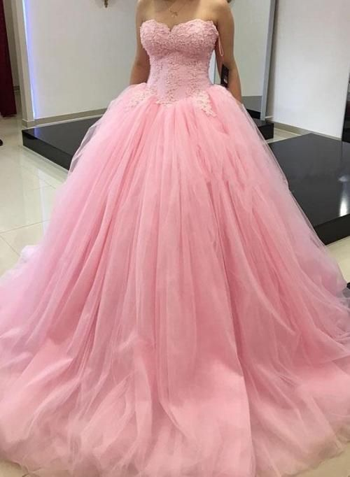 Pink sweetheart neck lace tulle long prom dress, sweet 16 dress