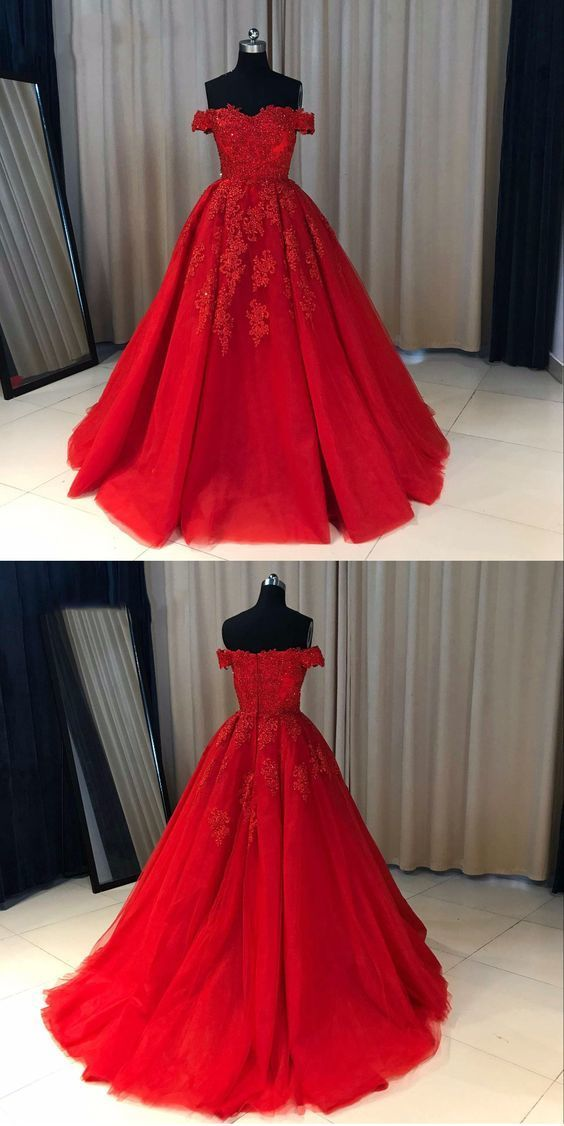 Fashion Ball Gown Off-The-Shoulder Red Long Prom Dress With Appliques