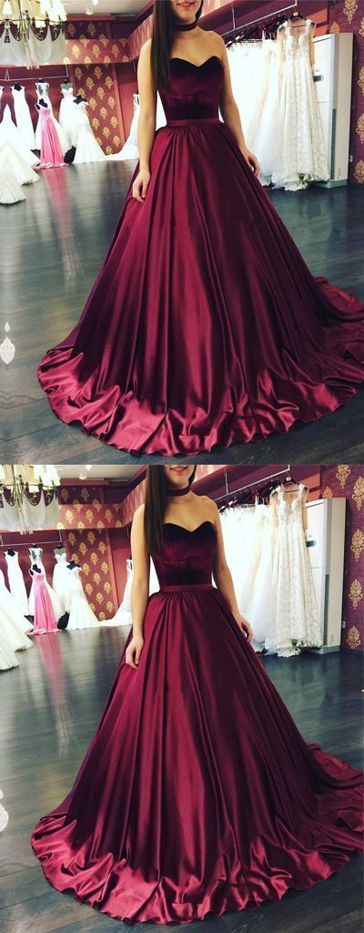 Fashion A-Line Sweetheart Burgundy Ball Gown Long Prom Evening Dress Q5284