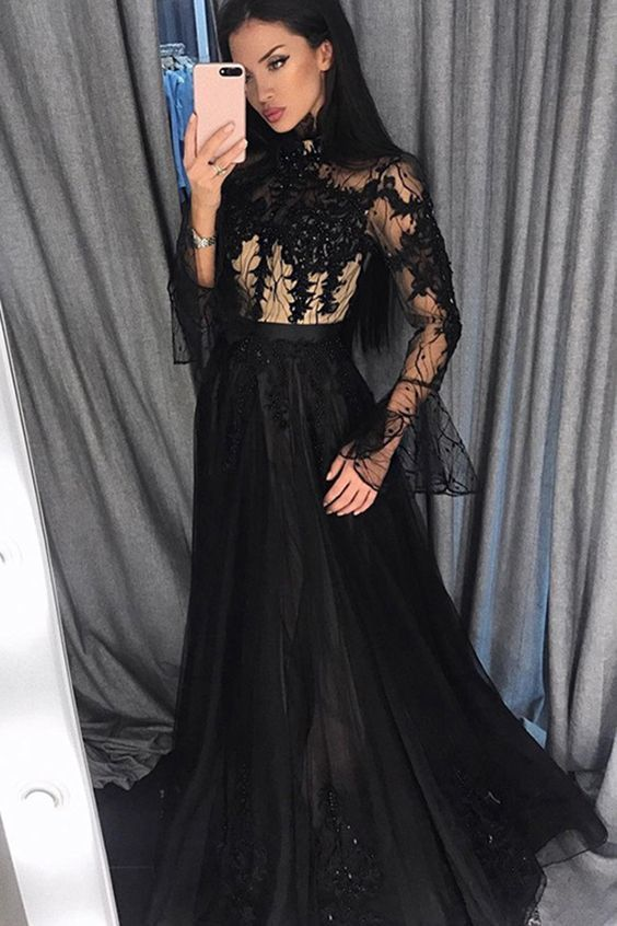Black Prom Dresses Long Sleeves High Neck Evening Gowns with Appliques