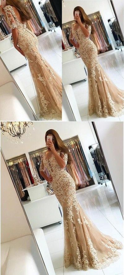 mermaid champagne prom party dresses with appliques low back, modest evening