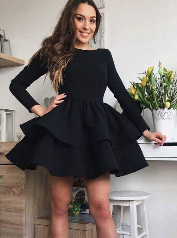 A-Line Bateau Long Sleeves Tiered Black Homecoming Dress