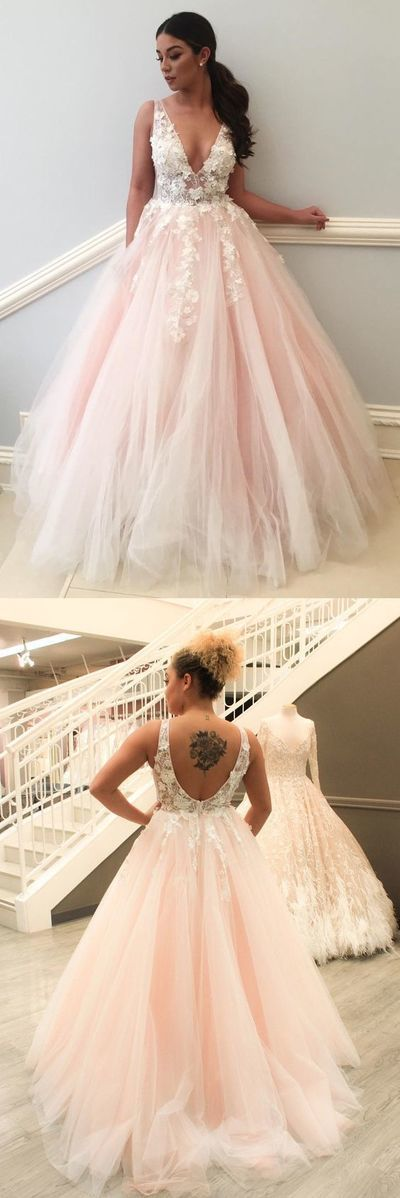 Elegant deep v-neck prom dress with appliques, fashion pink prom gowns with low