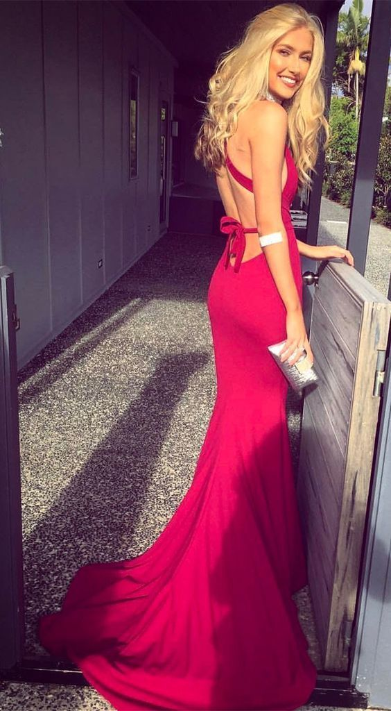 Charming Open Back Red Mermaid Prom Dress, Sexy Evening Party Dress