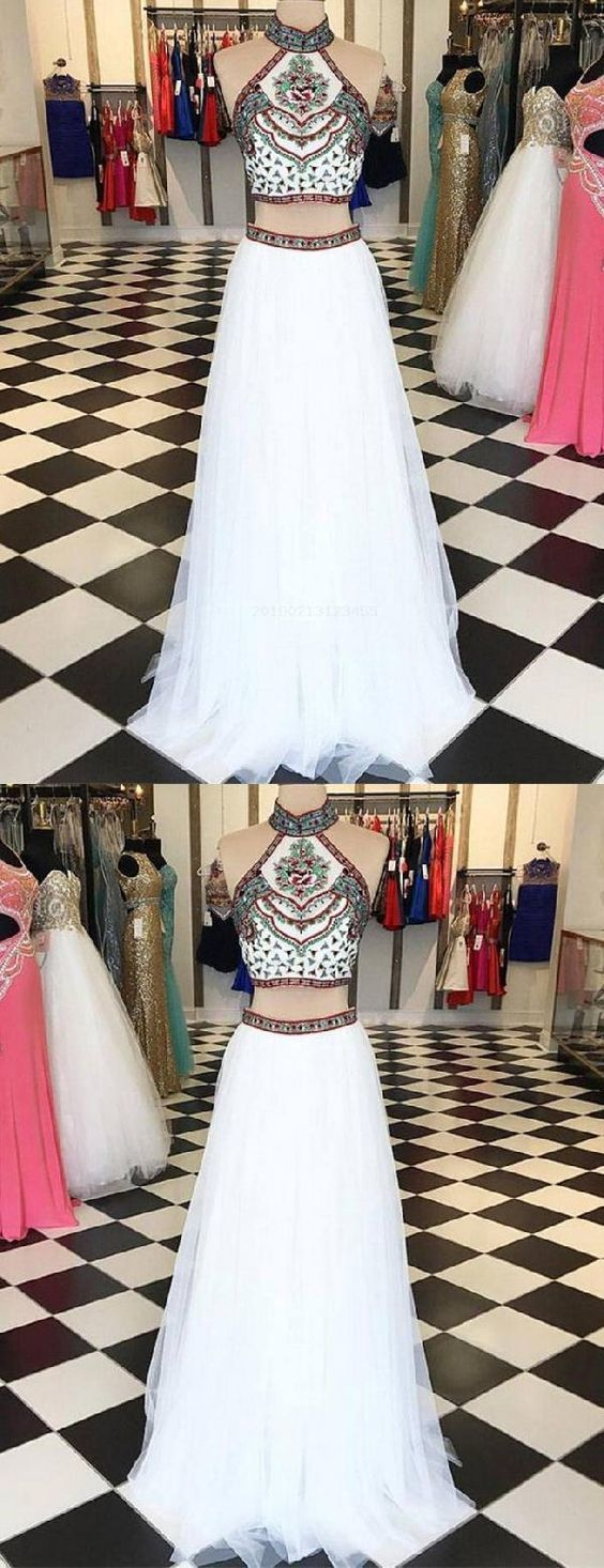 Charming Two Piece Prom Dress with Emberoidery,  Sexy Evening Party Dress,