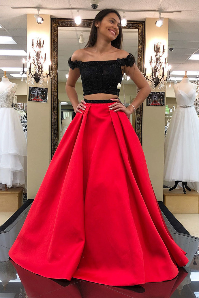 Charming Two Piece Red Prom Dress, Black top Beaded Long Prom Dresses