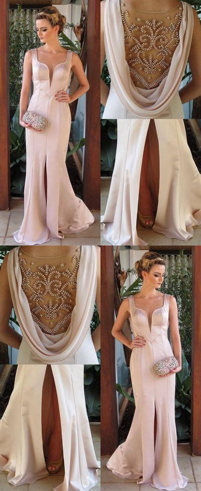 Beaded Mermaid Prom Dress,Satin Split Prom Dress,Custom Made Evening Dress R3326