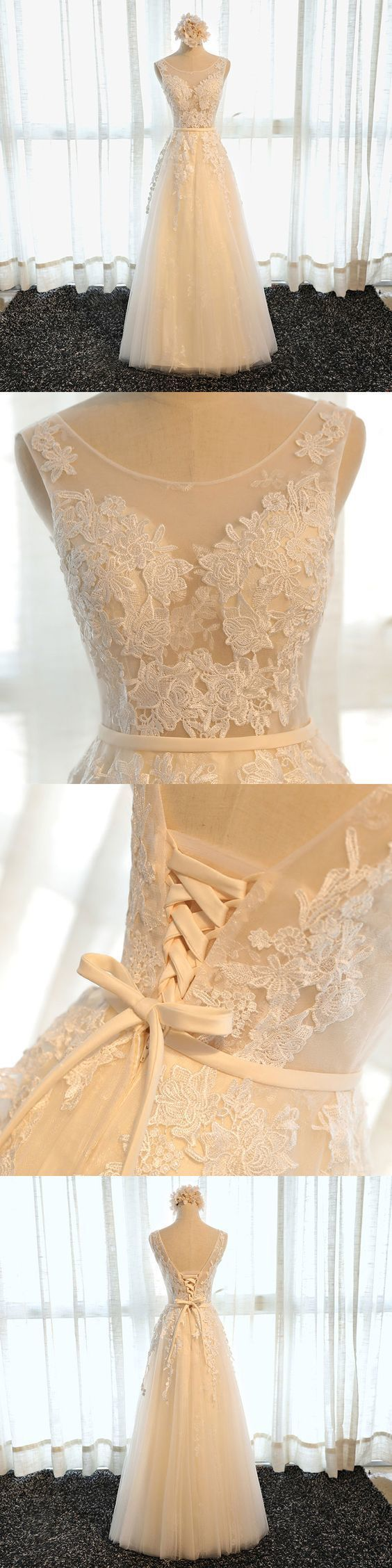 High quality A line champagne tulle lace long prom dress, cheap evening dress