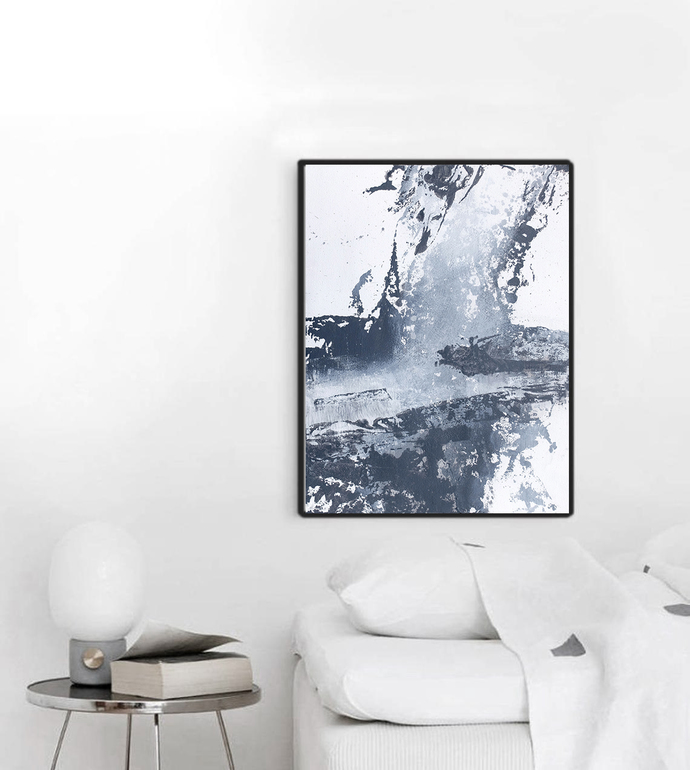 Copy of Abstract gray and white painting, original painting, contemporary wall