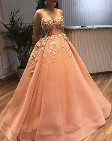 Spaghetti Straps Sweetheart Tulle Ball Gowns Prom Dresses Lace Embroidery E5678