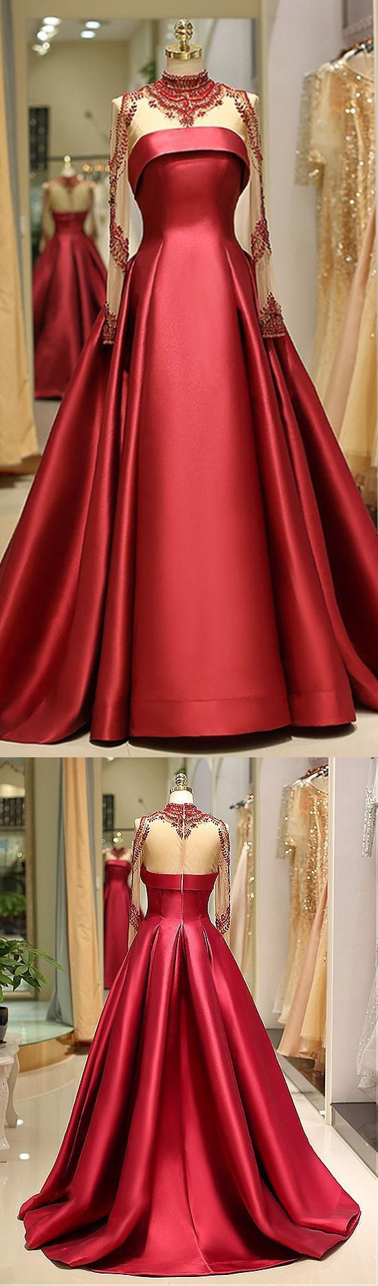 Brilliant Satin High Collar Floor-length A-line Evening Dress With Beading Q4259