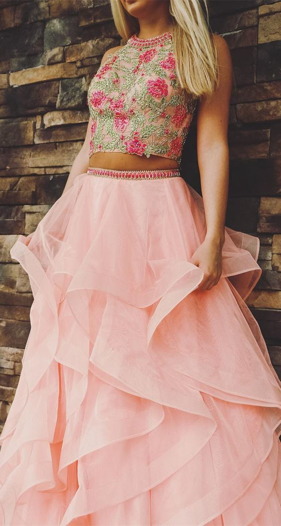 two piece pink long prom dress, ball gown  E5679