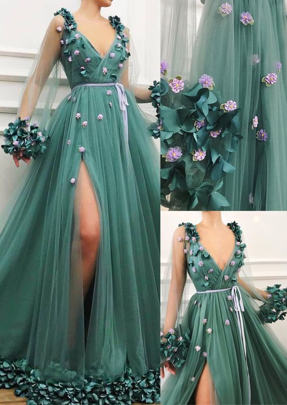 2019 new prom dress , v neck prom gown with long sleeve  E5680