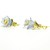 Spring time jewelry, blue and peach flower earrings, lucite jewelry, gold and