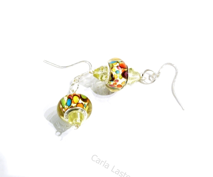 Bright and colorful earrings for spring and summer, lamp work earrings, lampwork