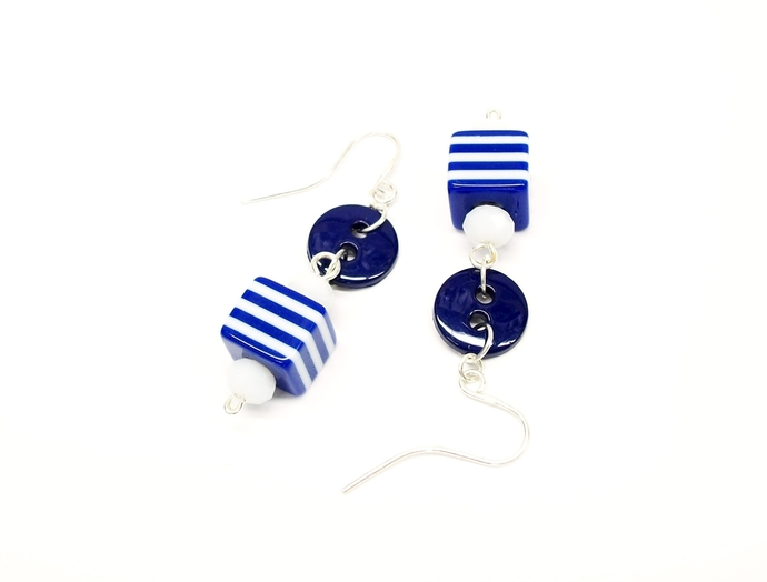 Button jewelry, classic navy and white earrings, button earrings, fun jewelry,