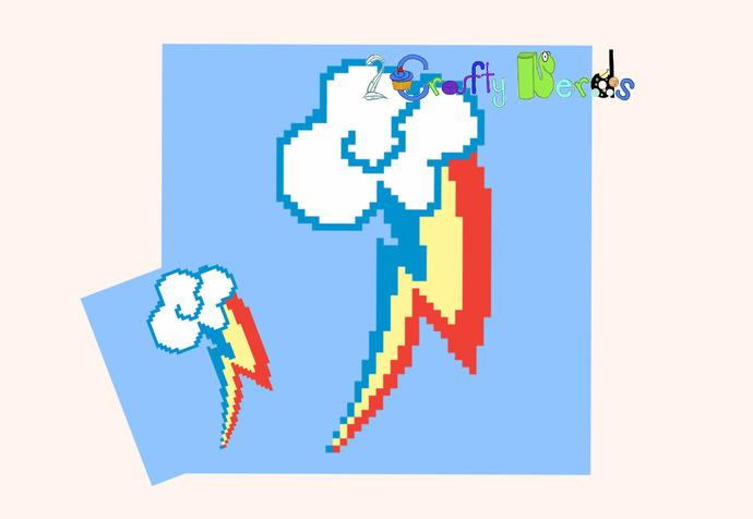 MLP Rainbow Dash Block Pattern Graph With Single Crochet and TSS Written