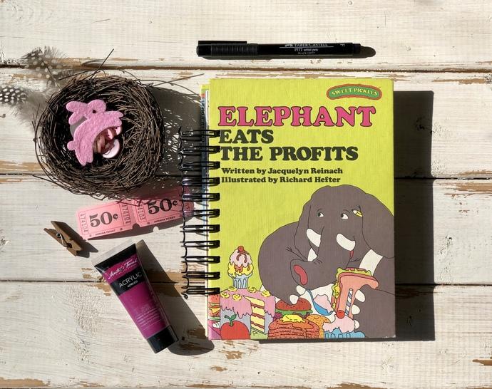 Vintage Childrens Book Junk Journal, Art Journal, Elephant Eats the Profits