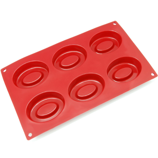 6-Cavity Silicone Double Oval Soap Mold Perfect 6-Cavity Silicone Double Oval