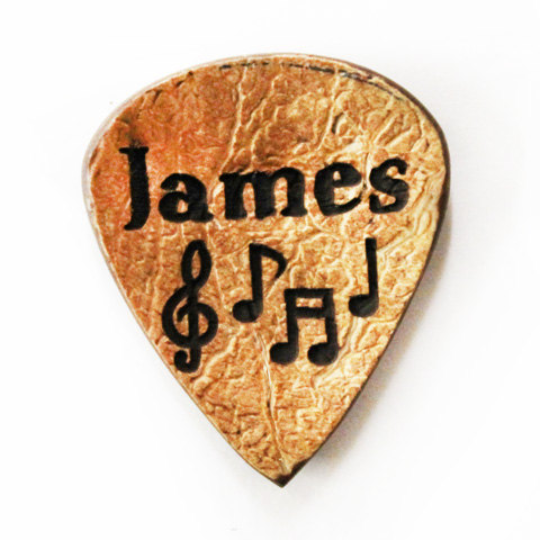 Custom Engraved on Guitar Pick with Notes and Name. Coconut, Engraved Guitar