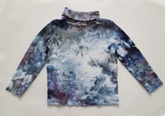 Child's Turtleneck, Ice Dyed Unisex Turtleneck,  Shades of Turquoise, Blue and