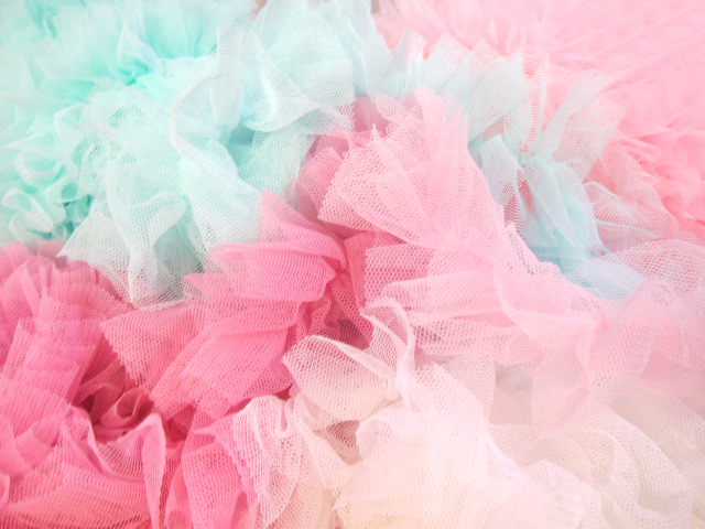 """1yd Ruffled Dimensional Tulle Trim Lace - 2.4"""" Mint, White, Baby Pink, Pink"""