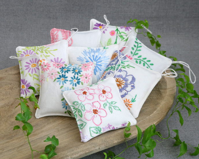 Set of 8 Embroidered Lavender Sachets | Scented Closet Sachets