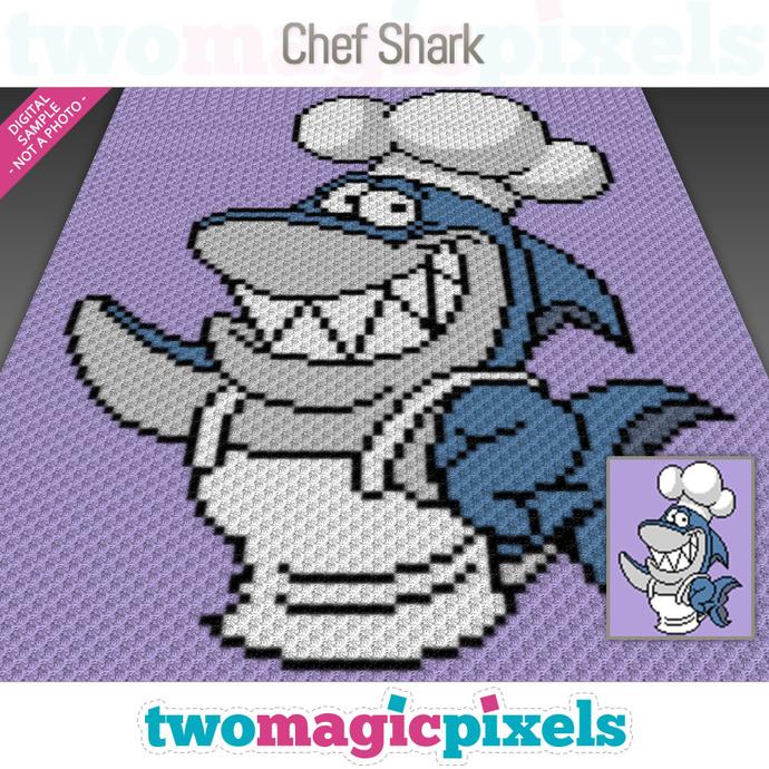 Chef Shark crochet graph (C2C, Mini C2C, SC, HDC, DC, TSS), cross stitch;