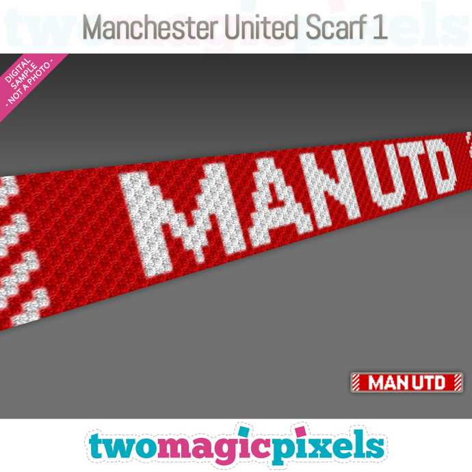 [C2C] Manchester United Scarf 1; crochet graph + row-by-row counts; instant PDF
