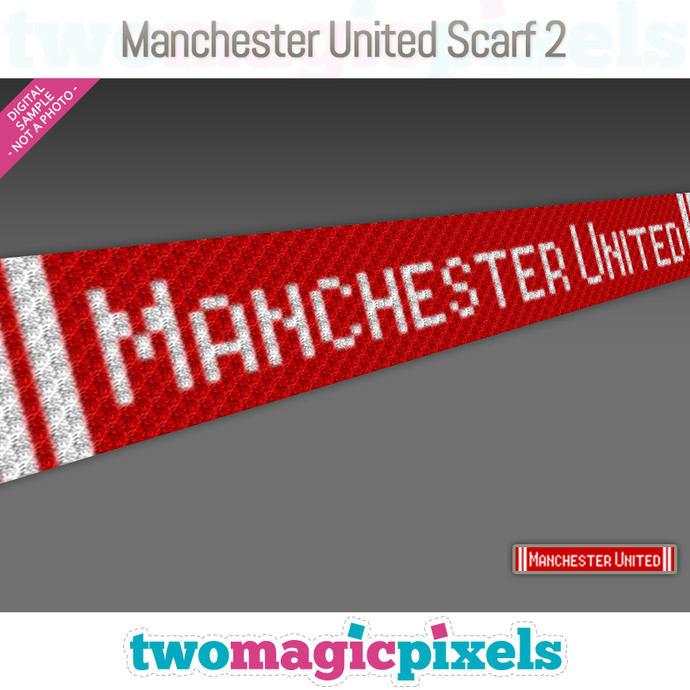 [C2C] Manchester United Scarf 2; crochet graph + row-by-row counts; instant PDF