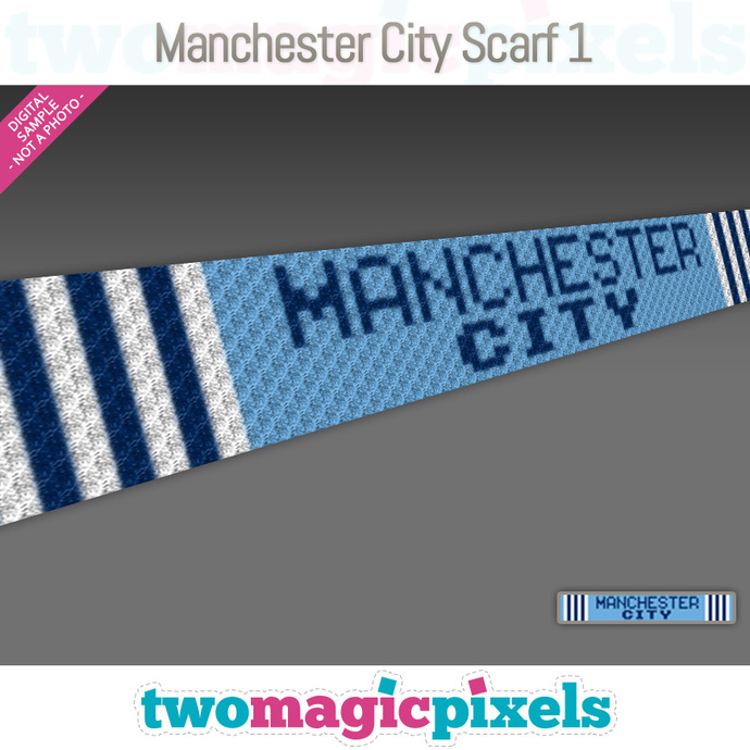 [C2C] Manchester City Scarf 1; crochet graph + row-by-row counts; instant PDF