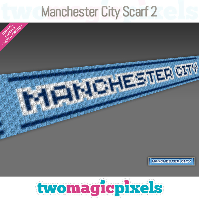 [C2C] Manchester City Scarf 2; crochet graph + row-by-row counts; instant PDF