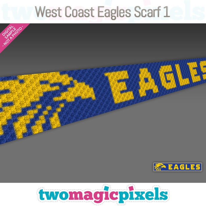 [C2C] West Coast Eagles Scarf 1; crochet graph + row-by-row counts; instant PDF