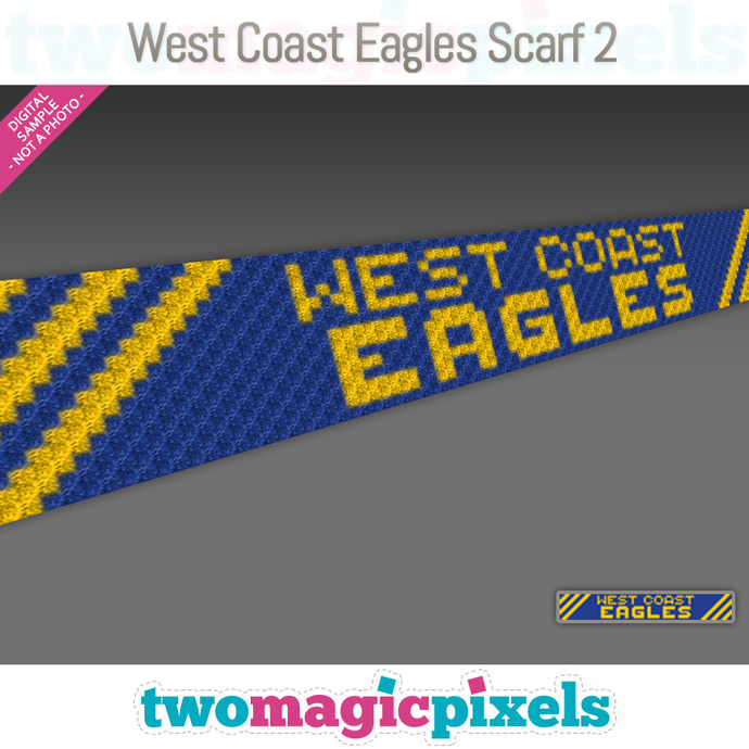 [C2C] West Coast Eagles Scarf 2; crochet graph + row-by-row counts; instant PDF