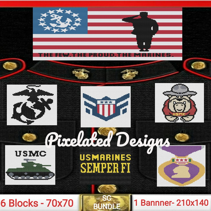 USMC - United States Marine Corps Bundle - SC - 7 Patterns - Graphs w/Written
