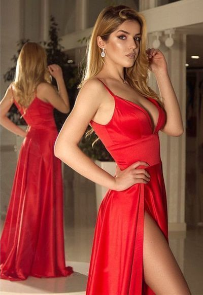 Sexy Sleeveless Split Slit Long Evening Party Dresses V neckline A Line Red Prom