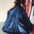 Off shoulder, navy blue long prom dress with slit Strapless Long Prom Evening